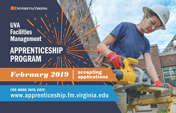 U.V.A. Facilities Management Apprenticeship Program, accepting applications in February, 2019